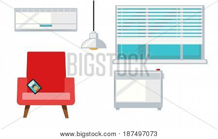 Vector illustration of different living room elements isolated on white.