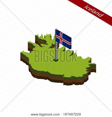 Iceland Isometric Map And Flag. Vector Illustration.