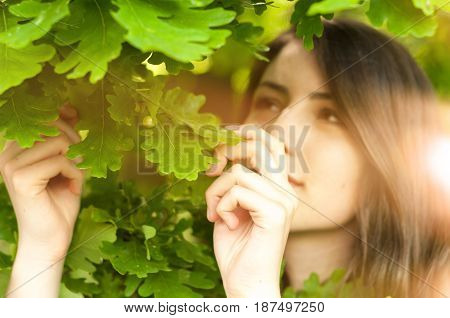 Bohemian Girl Enjoy Standing In The Nature
