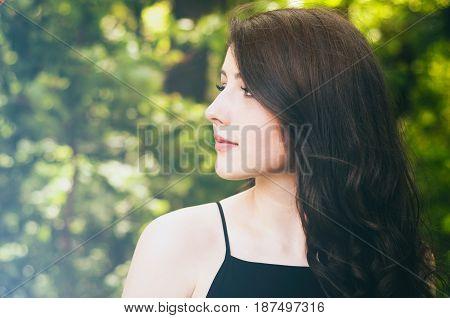 Summer Girl Portrait In Sunny Summer