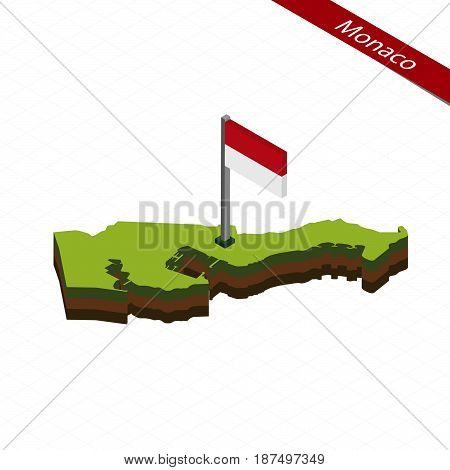 Monaco Isometric Map And Flag. Vector Illustration.