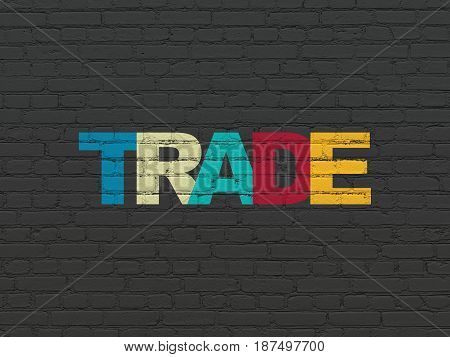 Business concept: Painted multicolor text Trade on Black Brick wall background