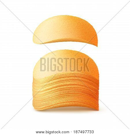 Vector  Stack of  Potato Crispy Chips Close up Isolated on White Background