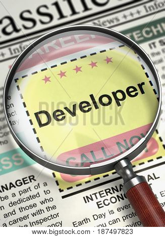 Developer - Searching Job in Newspaper. Magnifying Lens Over Newspaper with Searching Job of Developer. Job Search Concept. Blurred Image. 3D Rendering.