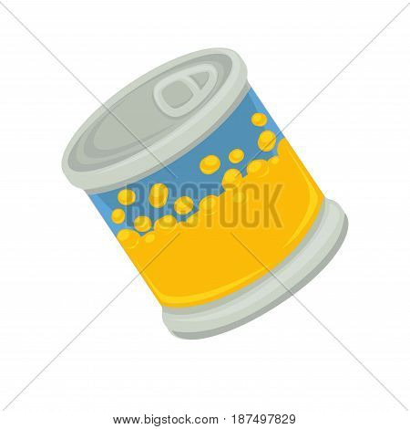 Cartoon canned corn in yellow solid tin container with comfortable and fast opening isolated on white background. Long-term storage sweet maize, natural seasonal food vector illustration.