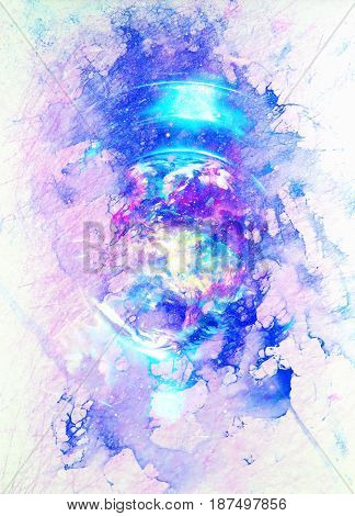 Cosmic space and planet earth, color cosmic abstract background. Winter effect