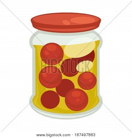 Canned cherry tomatoes in big glossy jar with red cover isolated on white background. Vegetables with spice species saved for winter. Long-term storage natural seasonal food vector illustration.