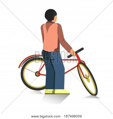 Cartoon character in navy trousers, beige vest, brown sweater and bright yellow shoes stands turned away and holds red city bicycle with yellow wheels isolated vector illustration on white background.