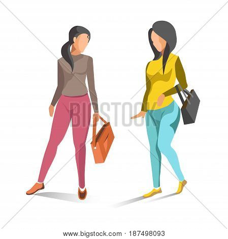 Two fashionable women spending time together and walking. Female people wearing light sweaters, pink and blue jeans and carrying handbags. Relaxing template vector illustration in flat design