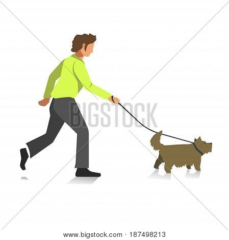 Boy walking with dog colorful full length illustration in flat design. Running young male person in yellow sweater and dark jeans holds domestic animal on special belt. Relaxation with pet concept