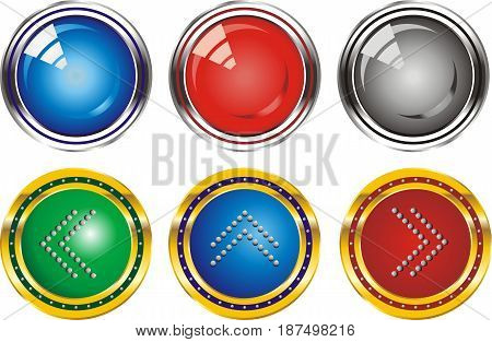 Set of web buttons with arrows pointing in silver and gold edging. Buttons in vector form