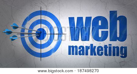 Success web development concept: arrows hitting the center of target, Blue Web Marketing on wall background, 3D rendering