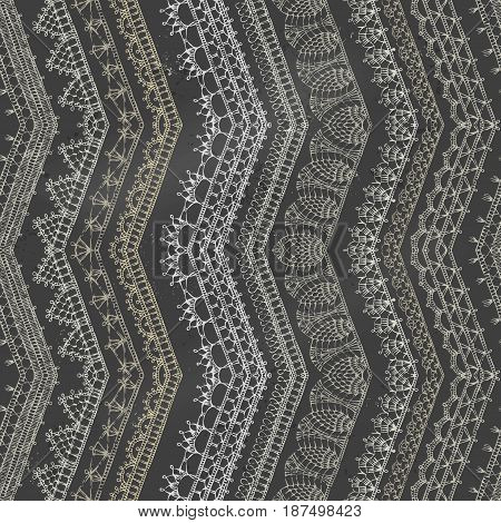 Vector Chalk Zigzag Crochet Seamless Pattern.