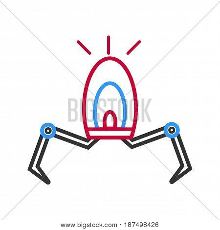 Electronic robot on two legs with bulb isolated on white. vector colorful illustration in flat design of automatized creature with special thing for lightning. Futuristic machine for working concept