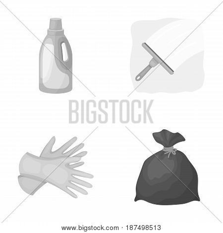 Gel for washing in a pink bottle, yellow gloves for cleaning, a brush for glass, a black bag for garbage or waste. Cleaning set collection icons in monochrome style vector symbol stock illustration .