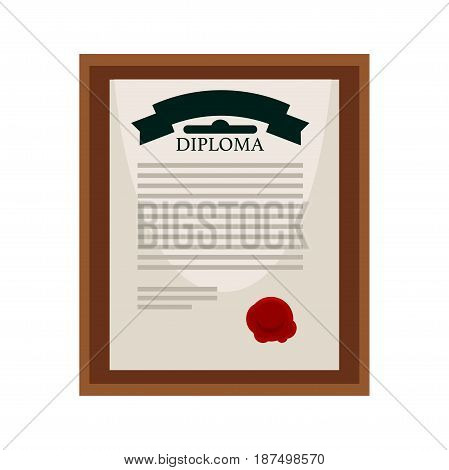 University official diploma for higher education approval with thick red seal underneath in wooden frame with glass that hangs on wall isolated cartoon vector illustration on white background.
