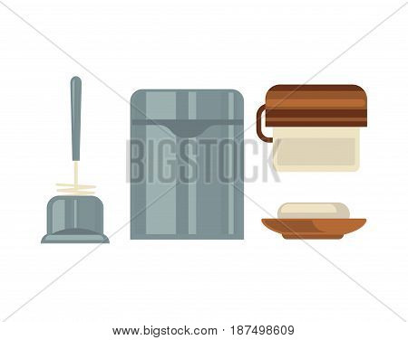 Washroom common sanitary attributes vector illustrations set. Metal trash bin, convenient plunger, simple soap dish and wall toilet paper holder in grey and brown colors isolated on white background.