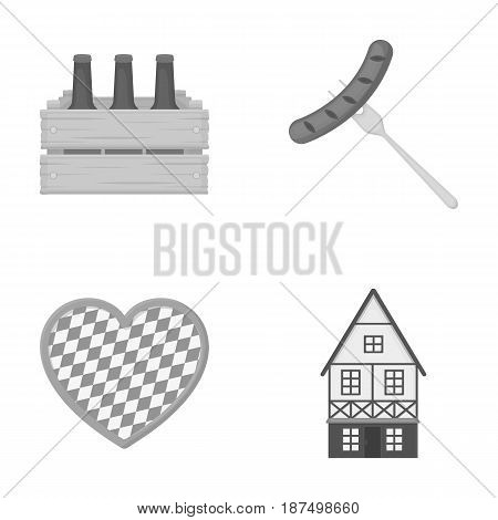 Box with beer, fried sausage, heart of the festival, Bavarian cottage. Oktoberfestset collection icons in outline style vector symbol stock illustration .