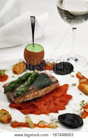 Seabass Grilled With Asparagus And Sauce