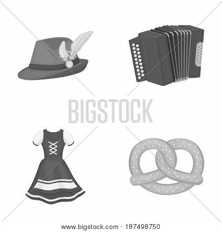Tyrolean hat, accordion, dress, pretzel. Oktoberfestset collection icons in outline style vector symbol stock illustration .