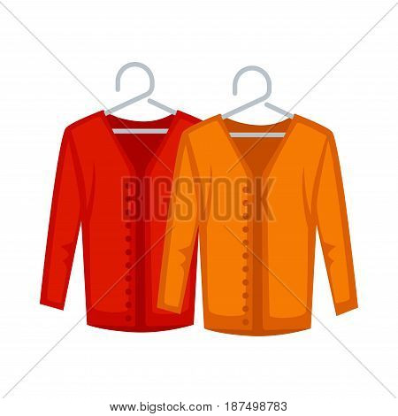 Female red and yellow sweaters with many small buttons on grey hangers isolated on white. Vector colorful illustration in flat design of stylish clothes for women. Outerwear for warm seasons