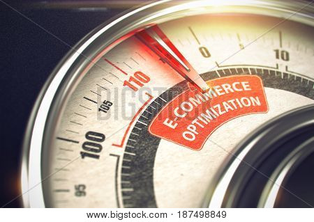Conceptual Illustration of a Compass with Red Needle Pointing to Maximum of E-Commerce Optimization. Horizontal image. 3D Render.
