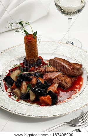 Duck Breast With Vegetables And Dried Fruits