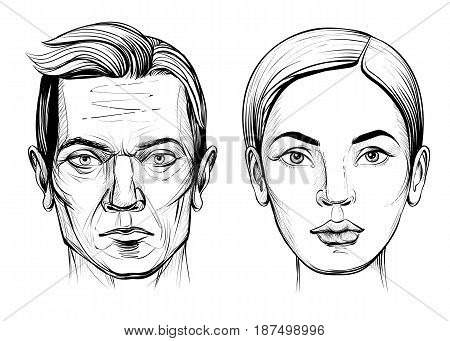 Man and woman vector line portrait sketch. Male and female face. Hand drawn illustration.