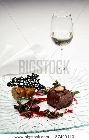 Wild Deer With Sauce Of Molecular Gastronomy