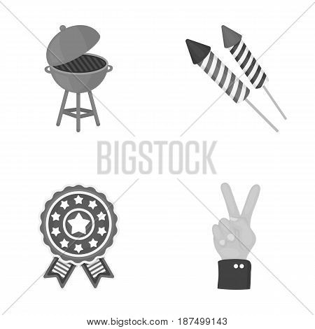 Barbecue, salute, voting ebblema, victory. The patriot's day set collection icons in monochrome style vector symbol stock illustration .