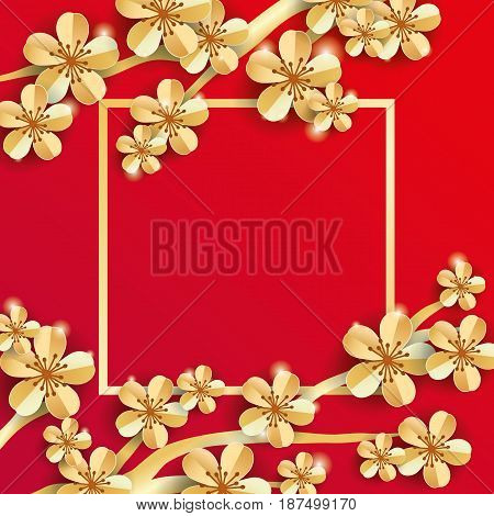 gold red sakura flower banner Apple tree. Spring flower mother day background. Paper art flowers template for banners, flyers, invitation, sale, invitation, congratulation, posters, greeting card