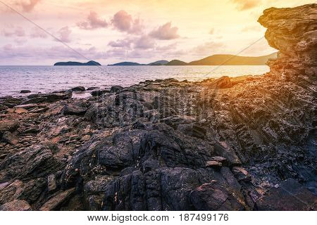 Sea sunset or sunrise seascape landscape nature in twilight with colorful of sky and cloud