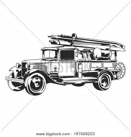 Isolated vintage fire truck hand drawn illustration.