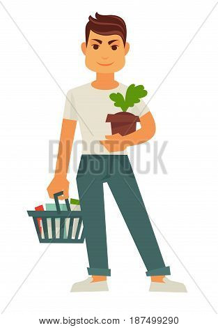 Male person holds flowerpot and cart with products. Isolated on white customer stand and keeps things in shop basket for home vector colorful illustration in flat design. Shopping and purchase concept