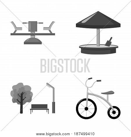 Carousel, sandbox, park, tricycle. Playground set collection icons in monochrome style vector symbol stock illustration .