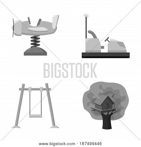 Airplane on a spring, swings and other equipment. Playground set collection icons in monochrome style vector symbol stock illustration .