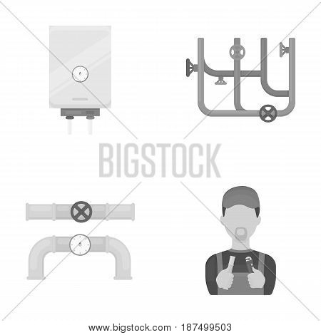 Boiler, plumber, ventils and pipes.Plumbing set collection icons in monochrome style vector symbol stock illustration .
