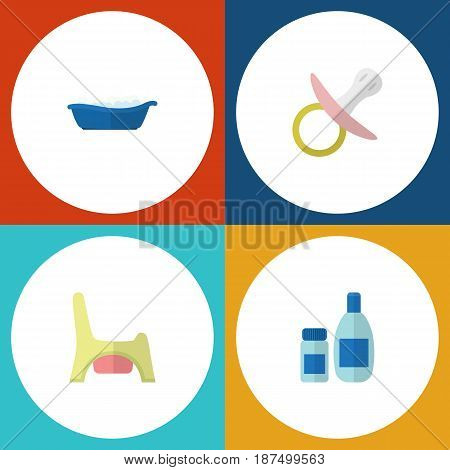 Flat Kid Set Of Bathtub, Cream With Lotion, Toilet And Other Vector Objects. Also Includes Potty, Child, Nipple Elements.