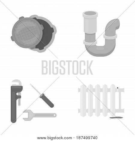 Sewage hatch, tool, radiator.Plumbing set collection icons in monochrome style vector symbol stock illustration .