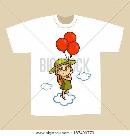 T-shirt Print Design Girl with Balloons Vector Illustration