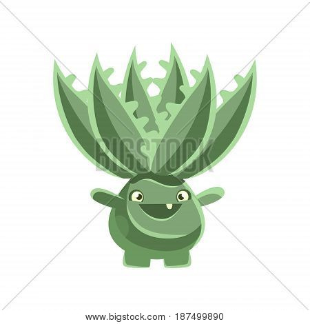 Happy smiling cactus emoji. Cartoon emotions character vector Illustration isolated on a white background