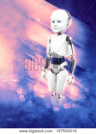 3D rendering of a child robot standing against a futuristic space background in pink and blue.