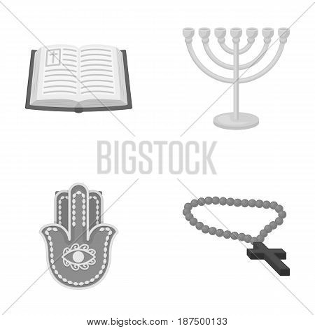 Bible, menorah, hamsa, orthodox cross.Religion set collection icons in monochrome style vector symbol stock illustration .