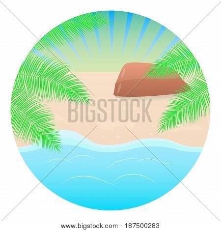 Summer concept round background. Sea landscape beach palm tree. Vector illustration.