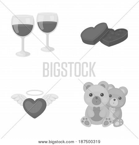 Glasses with wine, chocolate hearts, bears, valentine.Romantik set collection icons in monochrome style vector symbol stock illustration .