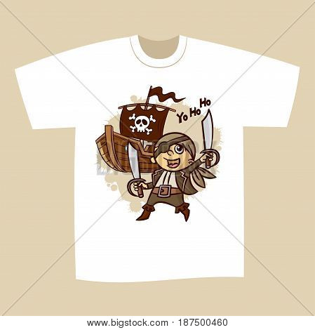 T-shirt Print Design Cartoon Pirate Vector Illustration
