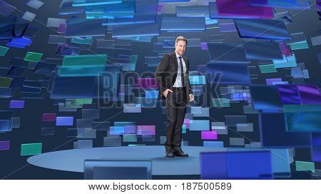 man in virtual broadcasting studio, 3d illustration