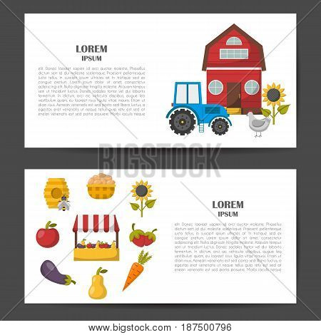 Vector Cartoon Farm Market Background