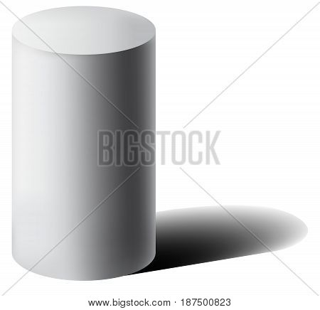 Vector white 3D cylinder with shadow. Realistic cylinder with shadow. Simple geometric form.