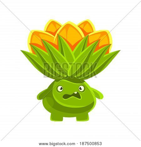 Funny vexed cactus with orange flowers on his head. Cartoon emotions character vector Illustration isolated on a white background